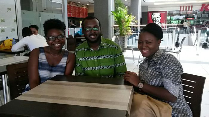 The Ghana National Volunteering Day Team. From left to right, Adelina, Gerald and Eleanor.